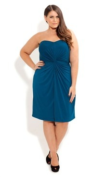 City Chic teal Twist Front Dress