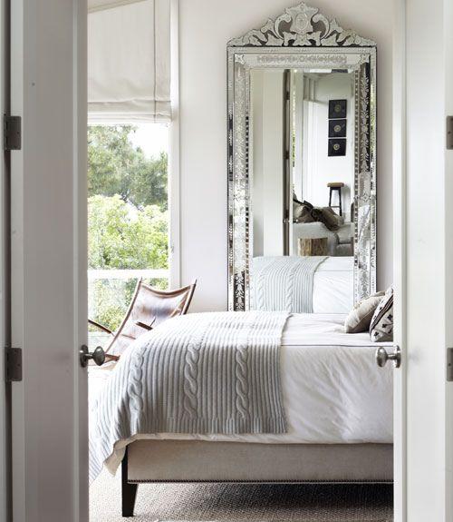 Casual but glam bedroom: Mirror Mirror, Venetian Mirror, Bedrooms Design, Floors Mirror, Interiors Design, Master Bedrooms, White Bedrooms, Venetianmirror, Modern Bedrooms