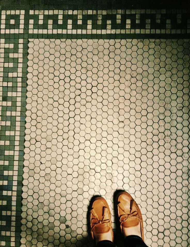 vintage hex tile kitchen