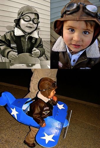 WW2 Fighter pilot kids costume (plane made of foam core, swim goggles painted with acrylics,etc.) Image © Christine Alvarado, 2007.