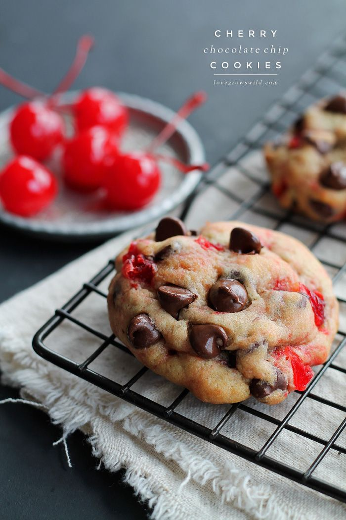 The perfect recipe for big, chewy chocolate chip cookies filled with sweet bites of maraschino cherries! Tastes just like a chocolate-covered cherry!