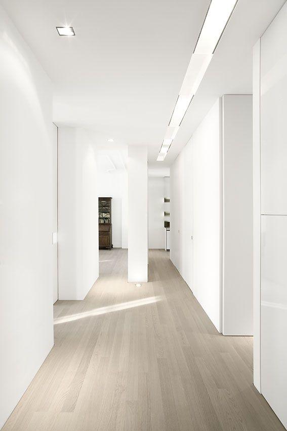 grey wash wood floors * white walls