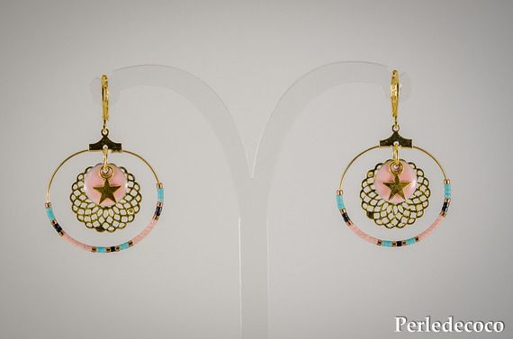Boucles d'oreille créoles 'Luna' perles rocaille tons vert turquoise-rose