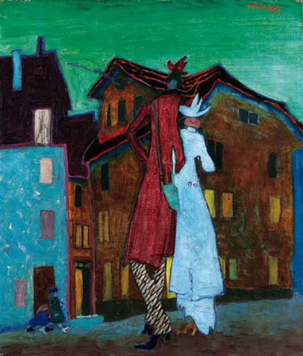 Lyonel Feininger (1871-1956) was een Amerikaanse kunstschilder en karikaturist. In 1912 ontmoet hij de leden van de kunstenaarsgroep 'Die Brücke'. Hij neemt deel aan de belangrijke tentoonstelling van der-Blaue-Reiter in de Sturm Galerie in Berlijn in 1913. van 1919 tot 1933 geeft hij les aan het fameuze Bauhaus in Weimar in de grafische kunsten.-1908