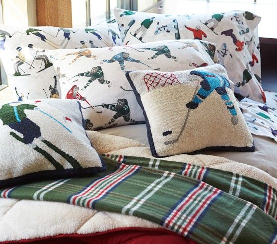 Lodge Ice Hockey Flannel Sheet Set Pottery Barn Kids