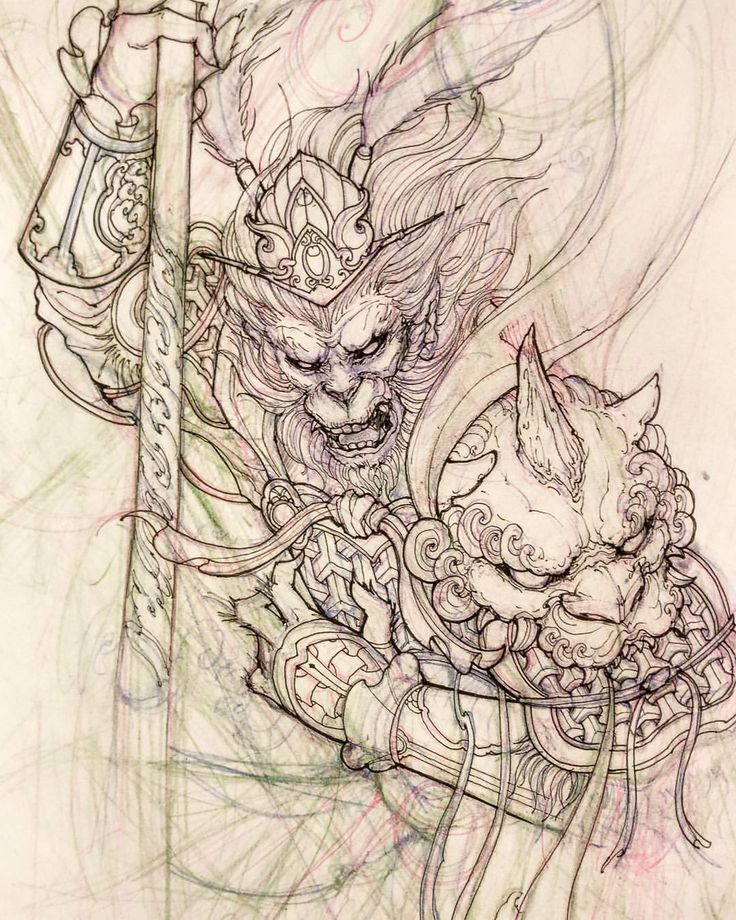 "4,406 lượt thích, 19 bình luận - David Hoang (@davidhoangtattoo) trên Instagram: ""Monkey king sketch. #monkeyking #sketch #illustration #drawing #irezumi #tattoo #asiantattoo…"""