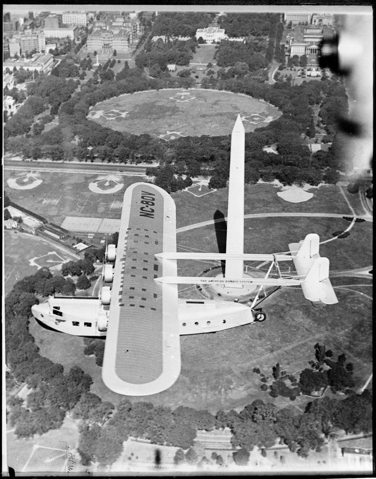 Clearly this is not something that you'd see today. What a beautiful image, taken sometime in the 1930s. Pan American Airways Sikorsky flying boat over Was