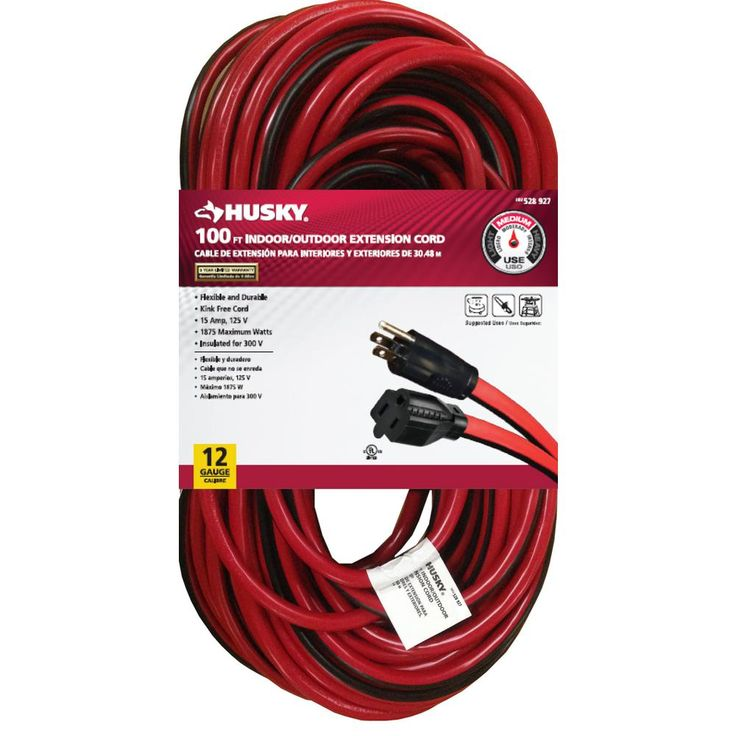100 ft. 12/3 Extension Cord, Red/Black