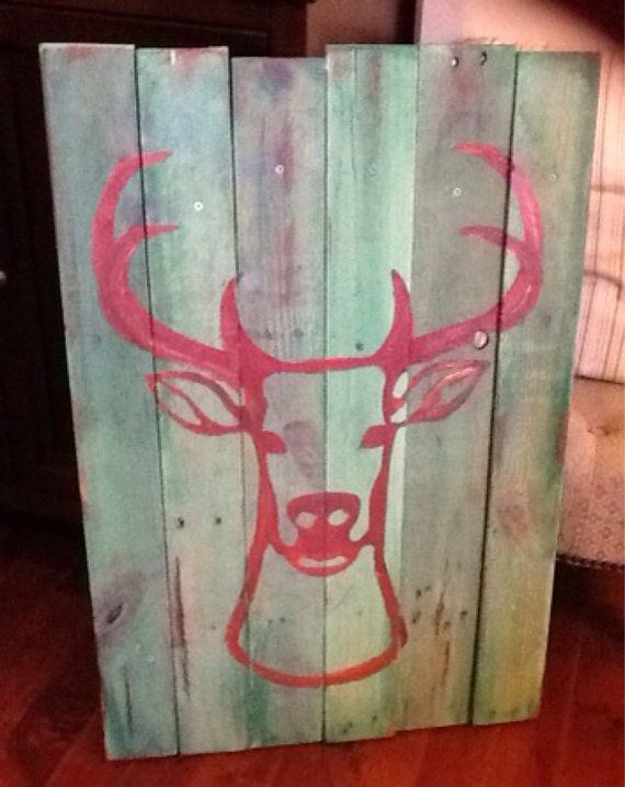 Deer silhouette  buck reindeer hunting cabin rustic pallet art red and green any color made to order #SouthCarolinaMaker #SouthCarolinaMakers #MadeInSouthCarolina #CarolinaMaker #CarolinaMakers