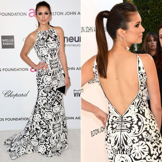 Nina Dobrev, black-and-white trend, Naeem Khan gown, two-toned bold print, sexy open-back, black-and-silver envelope clutch and triangle drop earrings. #TheVampireDiaries :: Oscar Party Dress 2013
