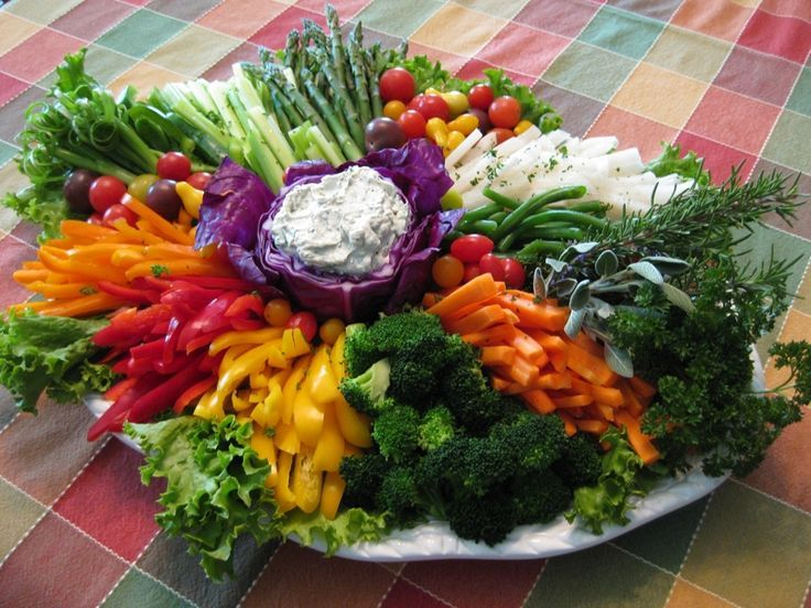 Here is a platter that was successful at a Thanksgiving dinner. Use whatever is in season and colorful.