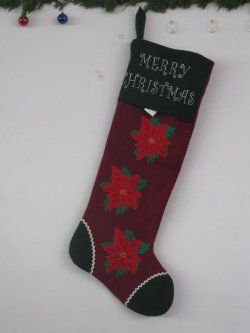 Christmas stockings ( wine red with black edge stitching snowflake graphic )