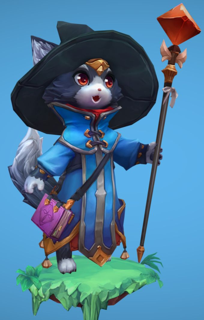 Wizard cat 3d model handpainted texture