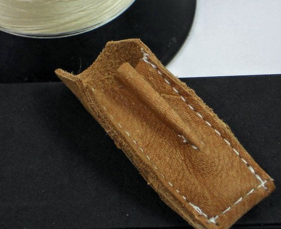 STOCKING Stuffer for the #DIY  person!  Wonderful FLEXIBLE FINGER LEATHER THIMBLE, in Caramel Creme colored leather just $7.99