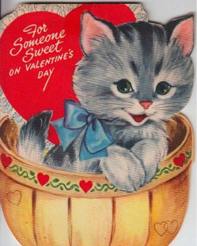 Vintage Greeting Card Cat Valentine (O347)
