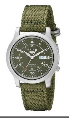 Seiko Men's SNK805 Seiko 5 Automatic Stainless Steel Watch with Green Canvas Strap  $57.99 & FREE Shipping.