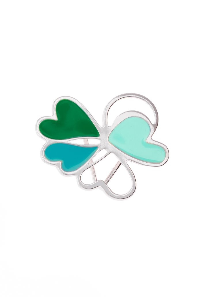 Portamascadas con forma de trebol, elaborado en baño de rodio con esmalte color verde y azul.  Portamascadas modelo 317615