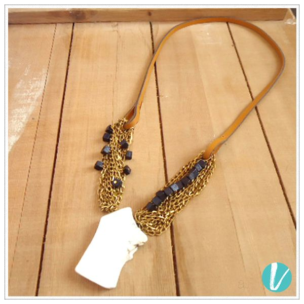 Make a Statement with this Bold Monochrome Neckpiece with Gold Accents! Shop this by Product Code: 53851 #statementneckpiece #monochrome #bold #necklace #premium #vilara