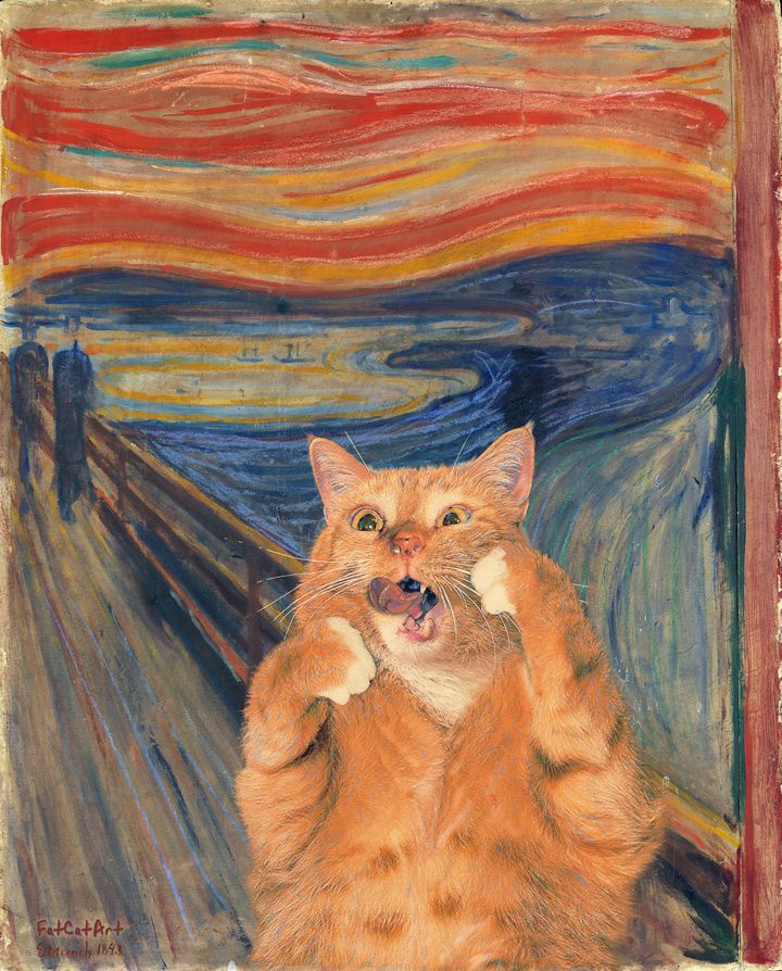 Edvard Munch, The Scream, or The Cream of the Scream Fat Orange Cat Photo Bombs Famous Paintings, courtesy of the Ruby Lane Blog.