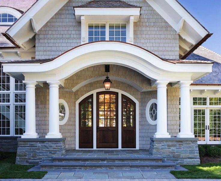 The grand entry of Breathtaking shingle-style residence on Lake Minnetonka #hallwaysandentrys