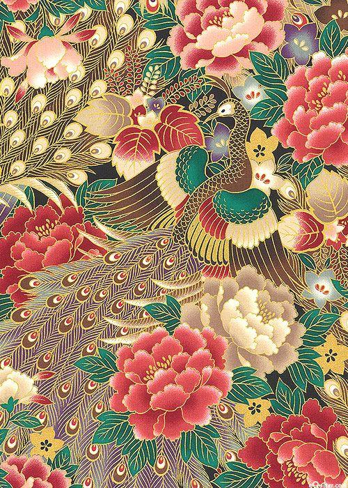 Japanese Import - Hyakka Ryoran Peacock - Garden- Black/Gold