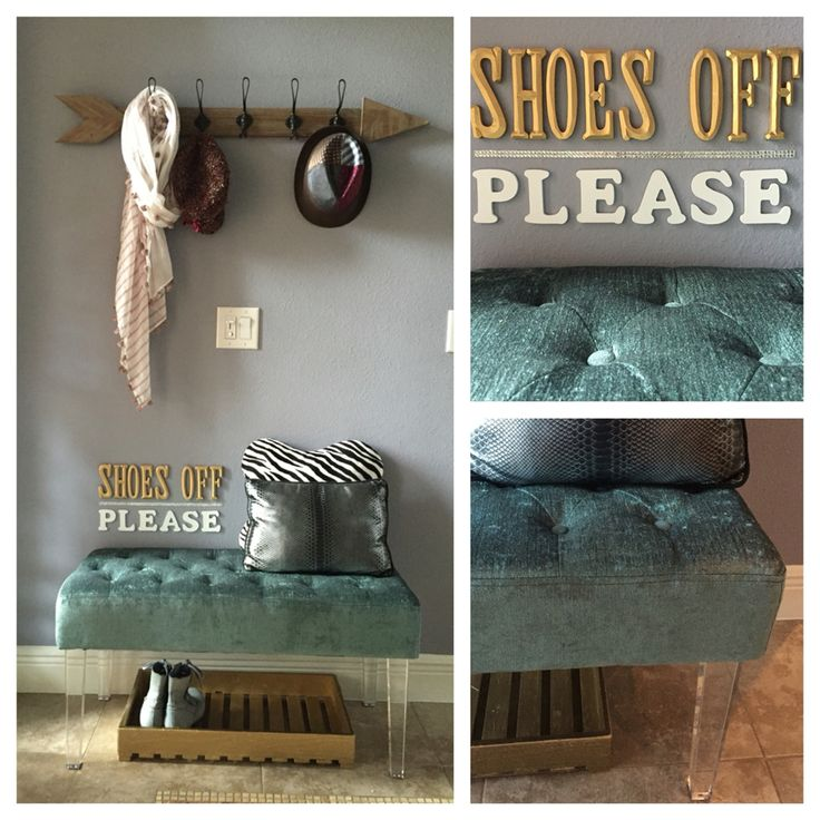 "Small foyer decor | eclectic | simple n chic ""no shoes""sign                                                                                                                                                      More"