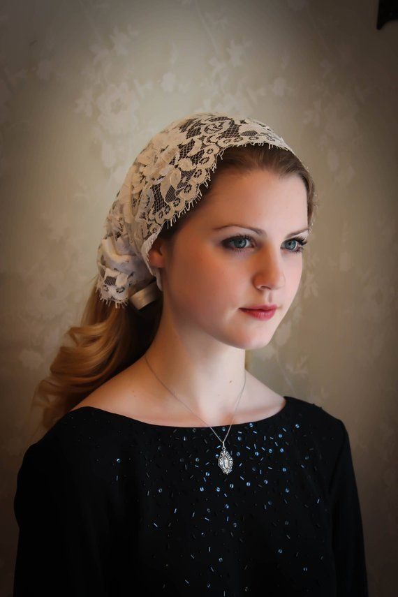 Https Www Etsy Com Listing 576935902 Evintage Veils French Alencon Lace Ref Shop Home Active 12 Church Veil Turban Headwrap Head Covering