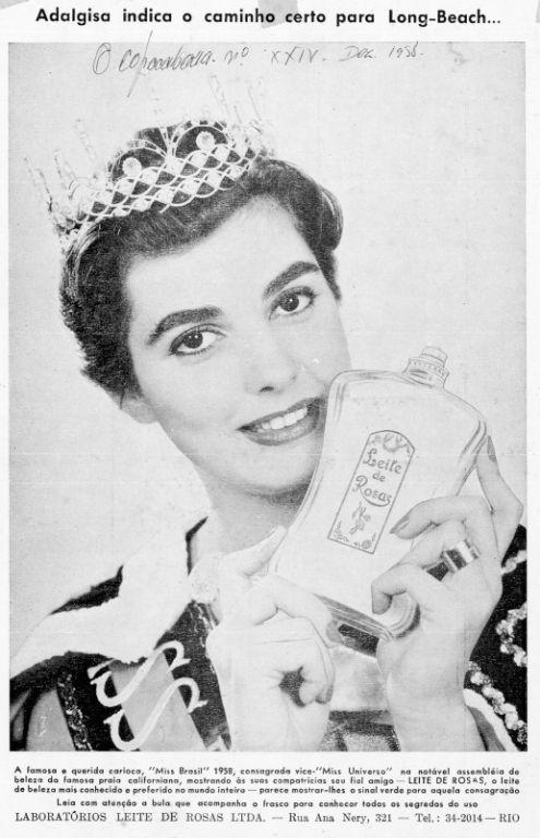 """Na década de 50, a empresa continuou investindo nas musas brasileiras e patrocinou a """"Miss Brasil"""" Adalgisa Colombo que concorreu ao """"Miss Universo"""" em 1958. Fotos de Adalgisa com Leite e Rosas na mão percorreram o Brasil."""
