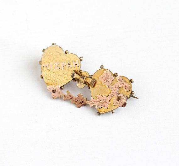 Antique Victorian Yellow and Rose Gold Filled Mizpah Double Heart Brooch - Vintage Two Tone Ivy Leaf 1890s Ornate Symbolic Love Jewelry Pin by Maejean Vintage on Etsy