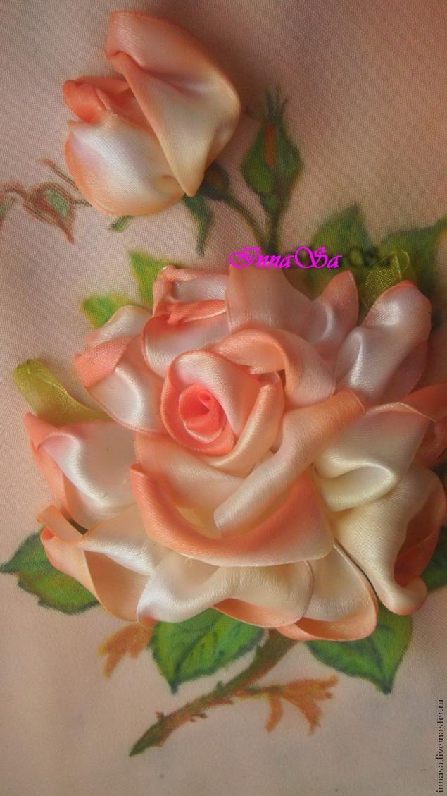 Вышиваем розу лентами - Ярмарка Мастеров - ручная работа, handmade