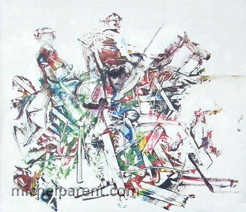 Couple à cheval (Couple on horseback), 2013 acrylique sur toile,60 x 60 cm