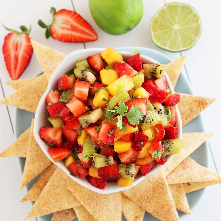 Strawberry Mango Salsa with Cinnamon-Sugar Tortilla Chips. Click image for recipe.