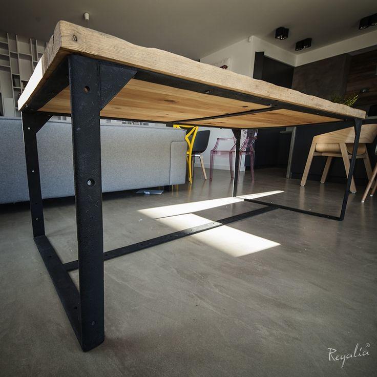 meble industrialne stół drewniany ze starego drewna na metalowej konstrukcji