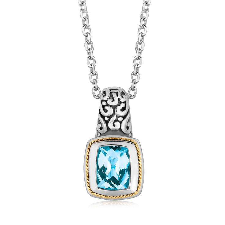 18K Yellow Gold and Sterling Silver Necklace with Milgrained Blue Topaz Pendant