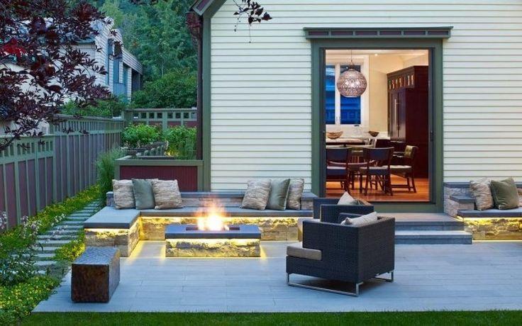 indirekte beleuchtung f r feuerstelle und sitzbank led streifen haus terrasse pinterest. Black Bedroom Furniture Sets. Home Design Ideas