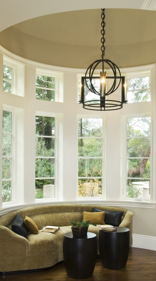 .: Interior Design, Idea, Bay Window, Dream House, Living Room, Family Room, Light Fixture, Round Couch
