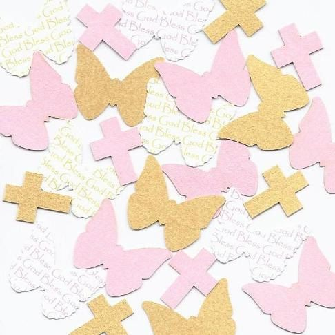Pink & Gold Baptism Decorations for Girls  by SetToCelebrate