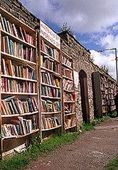 Hay-on-Wye, Wales-  Can you actually believe that there is a outdoor library like this , where people can come and see which book they would like to read next ! Why don't I live there !!!!!