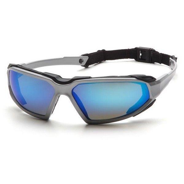 82d1cdec58 Pyramex Highlander Safety Glasses - Silver Black Frame - Blue Anti-Fog  Mirror Lens