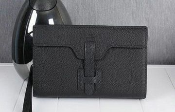 Hermes Jige Clutch Bag Calfskin Leather HQ8059 Black