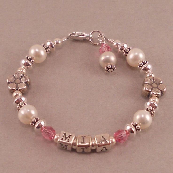 Name Bracelet, White Pearls, Birthstone, Personalized, custom made, toddler, little girls jewelry, flower, birthday, baby girl. $46.00, via Etsy.