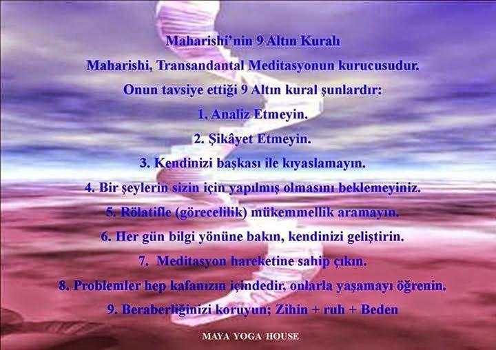 Maharishi'nin 9 Altın Kuralı