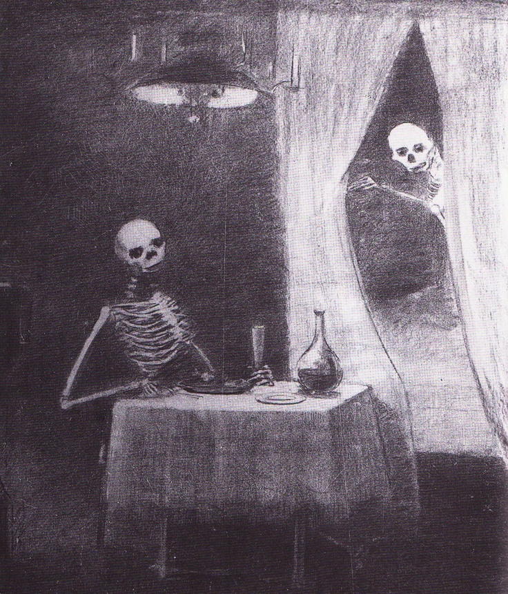 "Odilon Redon ""La Bataille des os"" (Fusain) 1881"