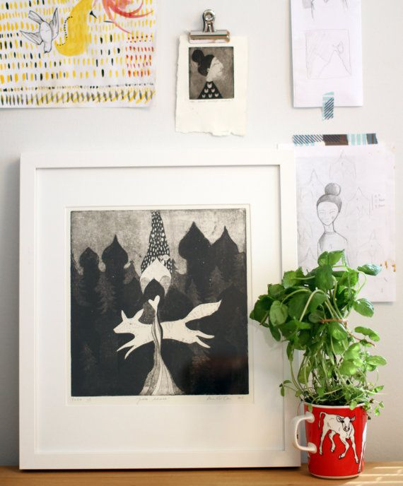 """This is a hand pulled original greyscale aquatint etching art print on 300g Hahnemuhle paper.  Original artwork in finnish """"Juokse Äitimaa"""", translated """"Run Mother Earth"""".  It is one print of the copper plate (1/1). The print measures 23.9 x 22.8 cm ( ~9.4"""" x 8"""" )."""