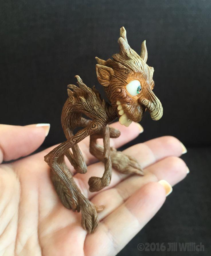 "Polymer clay miniature goblin original sculpture ""Twist"" 4/24/16"