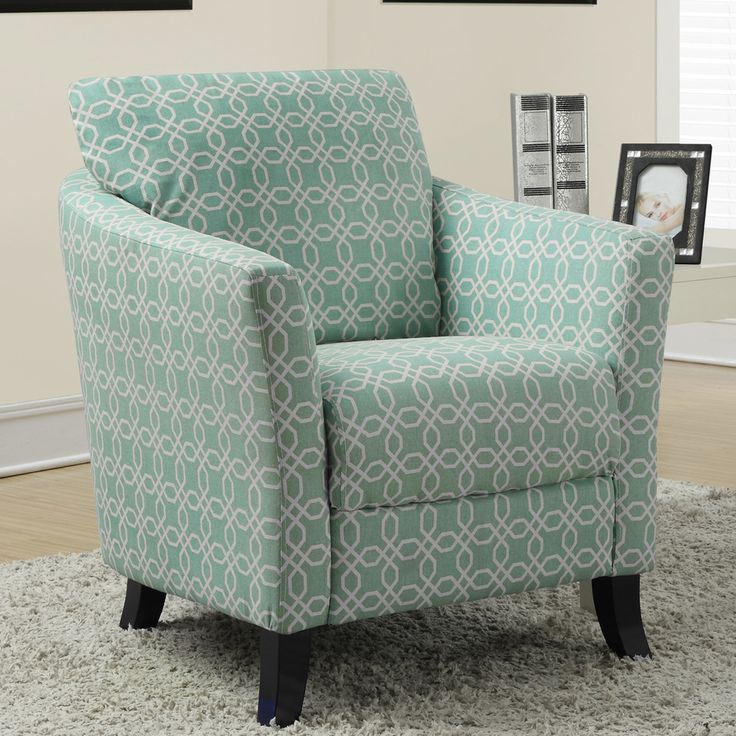 Angled Kaleidoscope Faded Green Accent Chair