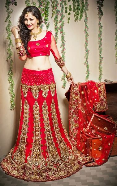 Picture of Gleaming Red Color Wedding Lehenga Choli