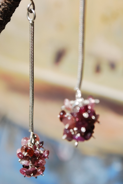 Bacchus earrings. Sterling silver and pink tourmaline.