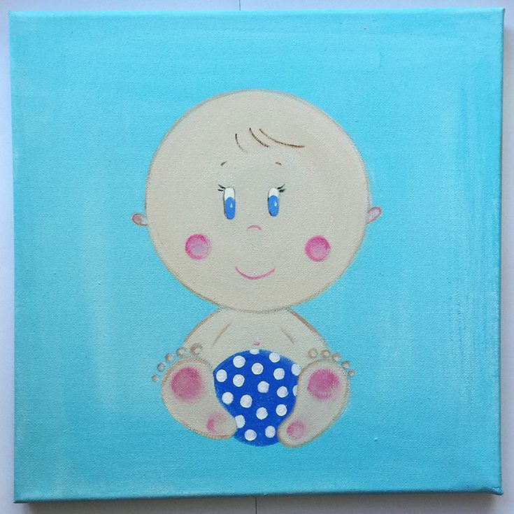 Handmade children's canvas painting with a baby in shades of blue, beige and pink.