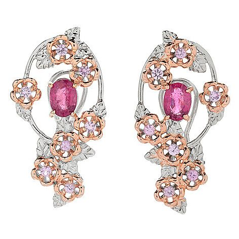 "157-238 - Gems en Vogue 1.25"" 2.38ctw Rubellite & Pink Sapphire Flower Earrings"